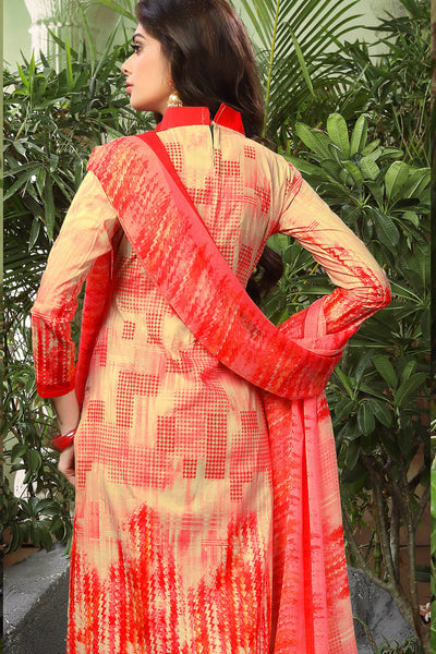 Printed Straight Cut Suits with Dupatta:atisundar fascinating Red Designer Cotton Printed Salwar Suit - 15476 - click to zoom