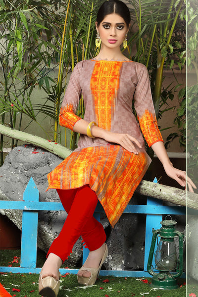 Printed Straight Cut Suits with Dupatta:atisundar classy Brown Designer Cotton Printed Salwar Suit - 15478 - click to zoom