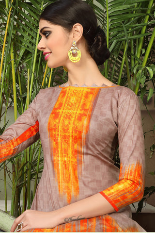 Printed Straight Cut Suits with Dupatta:atisundar classy Brown Designer Cotton Printed Salwar Suit - 15478