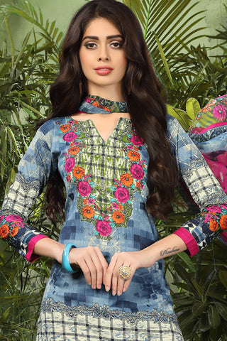Printed Straight Cut Suits with Dupatta:atisundar refined Grey Designer Cotton Printed Salwar Suit - 15480