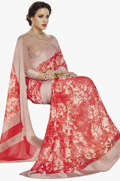Designer Party wear Saree:atisundar dazzling Designer Printed Saree with Fancy Border in Satin Georgette in Red And Cream  - 10768 - atisundar - 2 - click to zoom