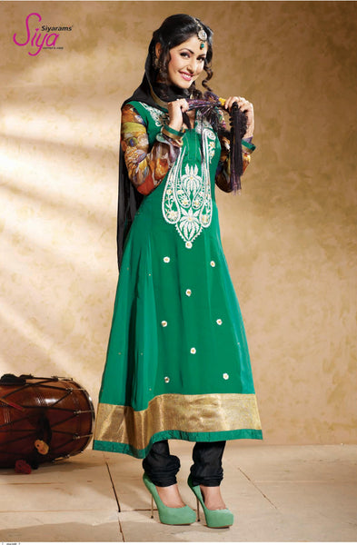Classy Embroidered Anarkali Green Unstitched Salwar Kameez By Siya - 4124 - atisundar - 3 - click to zoom