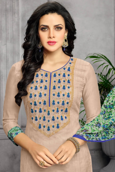 Designer Straight Cut:atisundar bewitching Cream Designer Party Wear Straight Cut - 13798 - click to zoom