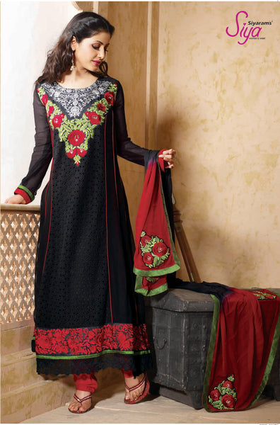 Pretty Embroidered Anarkali Black Unstitched Salwar Kameez By Siya - 4127 - atisundar - 2 - click to zoom