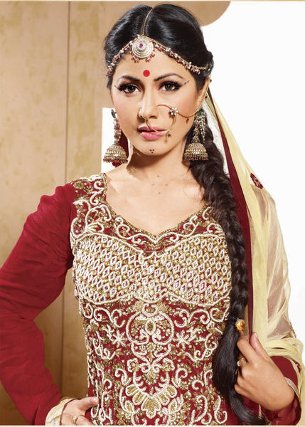 Cute Embroidered Anarkali Red Unstitched Salwar Kameez By Siya - 4128 - atisundar - 4 - click to zoom