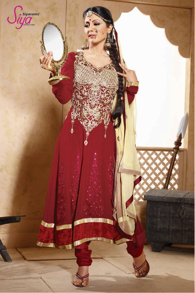 Cute Embroidered Anarkali Red Unstitched Salwar Kameez By Siya - 4128 - atisundar - 2 - click to zoom