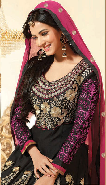 Sonal Chauhan in an Admirable Embroidery Black Unstitched Salwar Kameez By atisundar - 3032 - atisundar - 5 - click to zoom