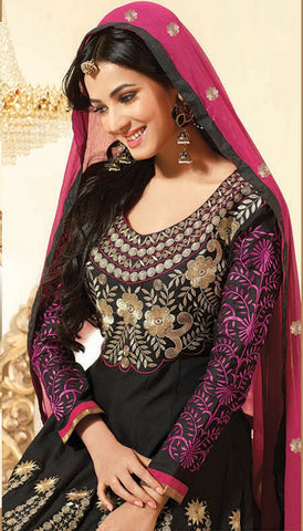 Sonal Chauhan in an Admirable Embroidery Black Unstitched Salwar Kameez By atisundar - 3032 - atisundar - 5