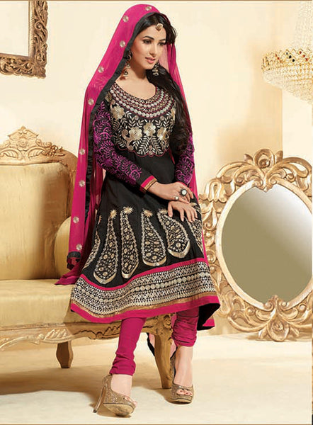 Sonal Chauhan in an Admirable Embroidery Black Unstitched Salwar Kameez By atisundar - 3032 - atisundar - 2 - click to zoom