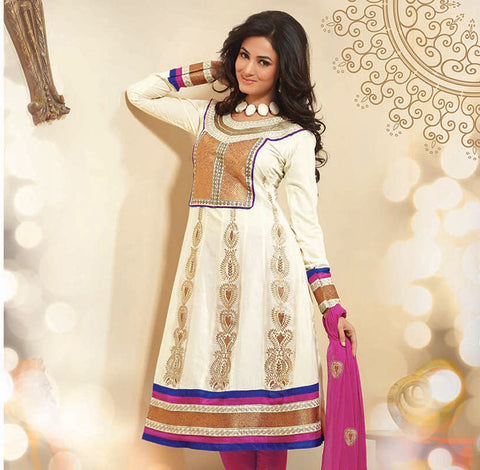 atisundar Surama: Splendid Unstitched Salwar Kameez In Cotton - 3033 (featuring Sonal Chauhan) - atisundar - 2 - click to zoom