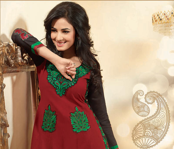 Sonal Chauhan in a Lovely Embroidery Red Unstitched Salwar Kameez By atisundar - 3038 - atisundar - 4 - click to zoom