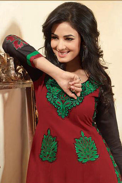 Sonal Chauhan in a Lovely Embroidery Red Unstitched Salwar Kameez By atisundar - 3038 - click to zoom