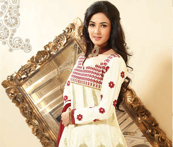 Sonal Chauhan in a Smart Embroidery Off-White Unstitched Salwar Kameez By atisundar - 3035 - atisundar - 3 - click to zoom