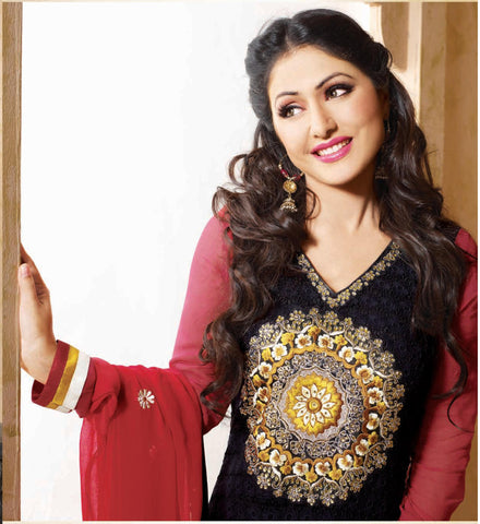 Siya Kamalini: Enticing Unstitched Salwar Kameez In Black - 4130 - atisundar - 4 - click to zoom