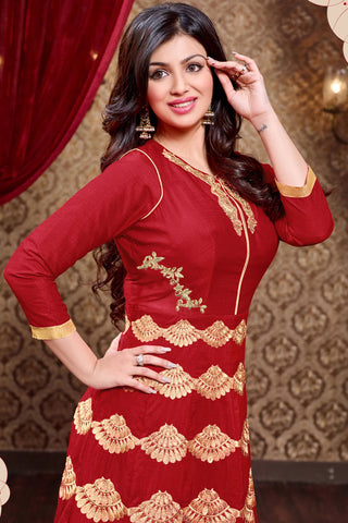 Designer Anarkali:atisundar Beautiful Red Designer Party Wear Anarkali Featuring Ayesha Takia - 13136