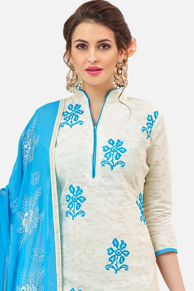Designer Cotton Jacquard With Embroidered Top And Dupatta:atisundar admirable White Embroidered Designer Straight Cut Unstitched Suits In Jacquard - 14922 - click to zoom