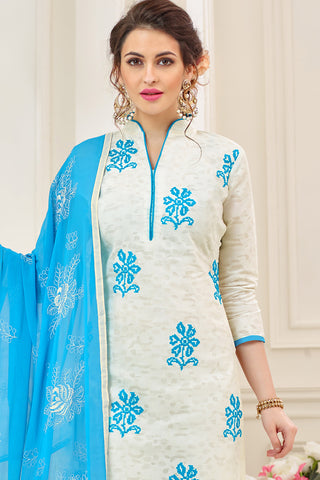 Designer Cotton Jacquard With Embroidered Top And Dupatta:atisundar admirable White Embroidered Designer Straight Cut Unstitched Suits In Jacquard - 14922