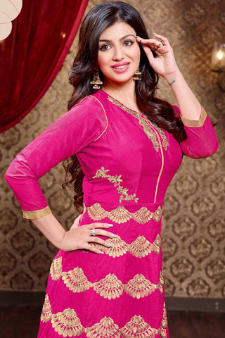 Designer Anarkali:atisundar enticing Pink Designer Party Wear Anarkali Featuring Ayesha Takia - 13138