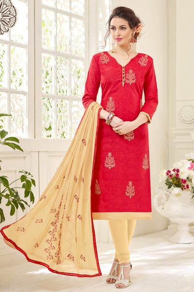 Designer Cotton Jacquard With Embroidered Top And Dupatta:atisundar fascinating Red Embroidered Designer Straight Cut Unstitched Suits In Jacquard - 14923 - click to zoom
