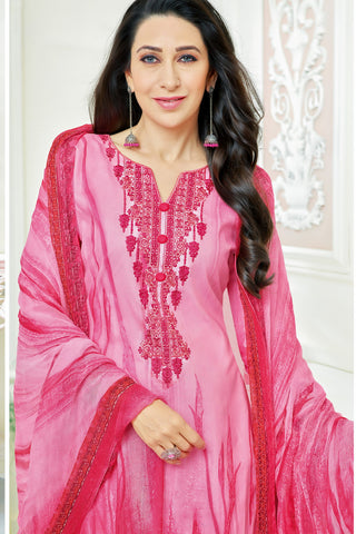 Exclusive embroidered Glaze Cotton With Printed Dupatta:atisundar Superb Pink Designer Party Wear Straight Cut Featuring Karishma Kapoor - 15543
