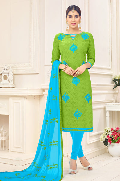 Designer Cotton Jacquard With Embroidered Top And Dupatta:atisundar enticing Green Embroidered Designer Straight Cut Unstitched Suits In Jacquard - 14925 - click to zoom