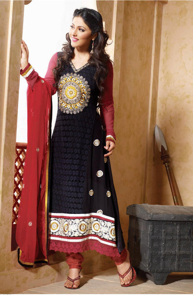 Siya Kamalini: Enticing Unstitched Salwar Kameez In Black - 4130 - click to zoom
