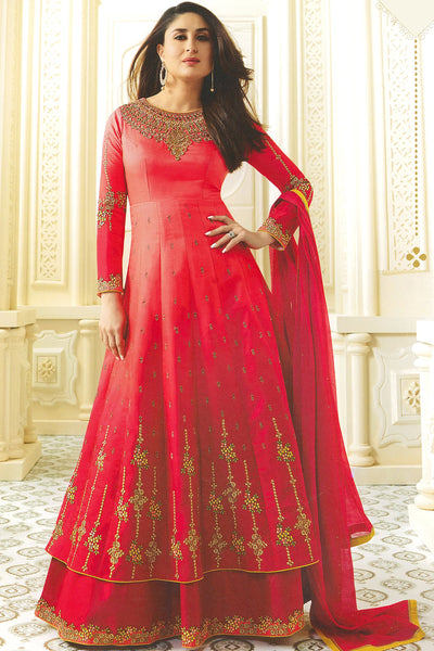 Georgette anarkali With Floral Embroidery:atisundar Great Red Designer Party Wear Embroidered Anarkali - 14856 - click to zoom