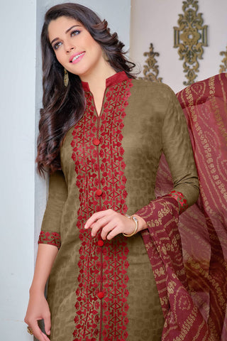 Designer Straight Cut:atisundar Beautiful Brown Designer Party Wear Straight Cut - 12998