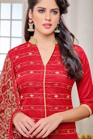 Designer Straight Cut:atisundar splendid Red Designer Party Wear Straight Cut - 13006
