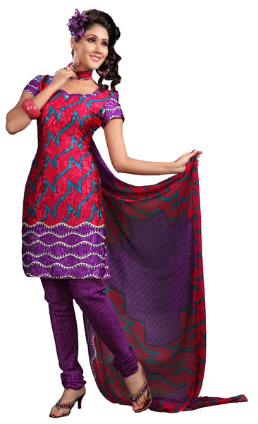 Lovely Print Purple Unstitched Salwar Kameez By atisundar - 3140 - click to zoom