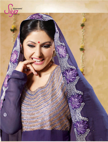 Siya Shilavati: Magnificent Unstitched Salwar Kameez In Purple - 4134 - atisundar - 4