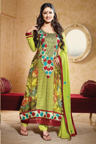 Siya Fajyaz: Bewitching Unstitched Embroidered Anarkali Salwar Kameez - 4136 - click to zoom