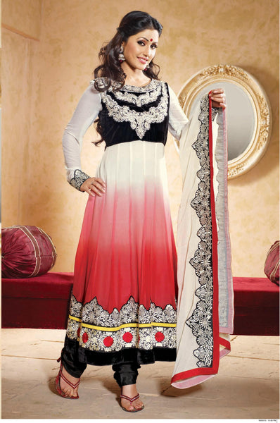 Siya Sushila: Graceful Unstitched Embroidered Anarkali Salwar Kameez - 4137 - atisundar - 2 - click to zoom
