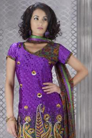 atisundar Pratima: Exquisite Unstitched Salwar Kameez In Purple - 3172