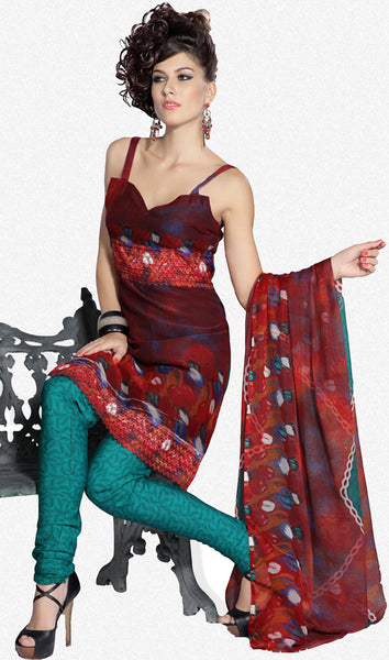 Great Print Red Unstitched Salwar Kameez By atisundar - 3176 - atisundar - 1 - click to zoom