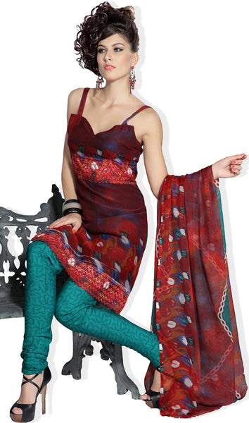 Great Print Red Unstitched Salwar Kameez By atisundar - 3176 - atisundar - 2 - click to zoom