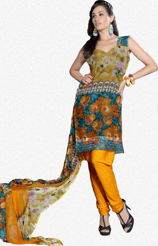atisundar Mrinal: Lovely Unstitched Salwar Kameez In Orange - 3179 - atisundar - 1 - click to zoom