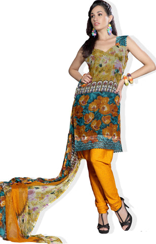atisundar Mrinal: Lovely Unstitched Salwar Kameez In Orange - 3179 - atisundar - 2 - click to zoom