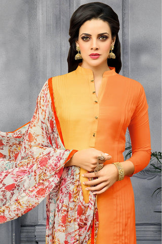 Designer Straight Cut:atisundar delicate Orange Designer Party Wear Straight Cut - 13807