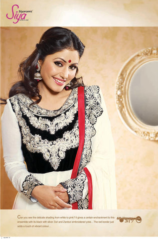 Siya Sushila: Graceful Unstitched Embroidered Anarkali Salwar Kameez - 4137 - atisundar - 4