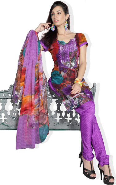 atisundar Vanca: Resplendent Unstitched Salwar Kameez In Purple - 3184 - click to zoom