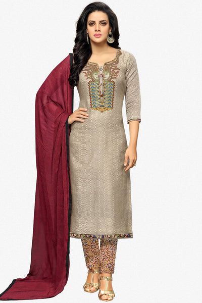 Designer Straight Cut:atisundar Awesome Grey Designer Party Wear Straight Cut - 13808 - click to zoom