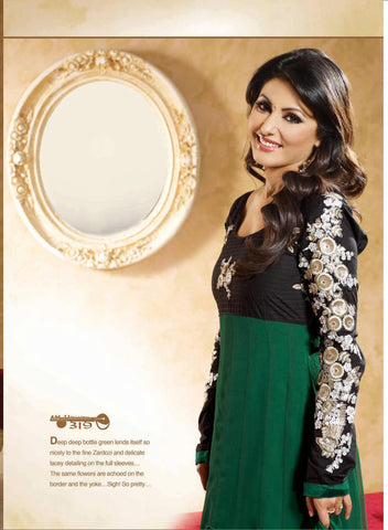 Resplendent Embroidered Anarkali Green Unstitched Salwar Kameez By Siya - 4139 - atisundar - 3