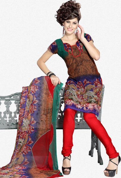 Stunning Print Brown Unstitched Salwar Kameez By atisundar - 3191 - atisundar - 1 - click to zoom