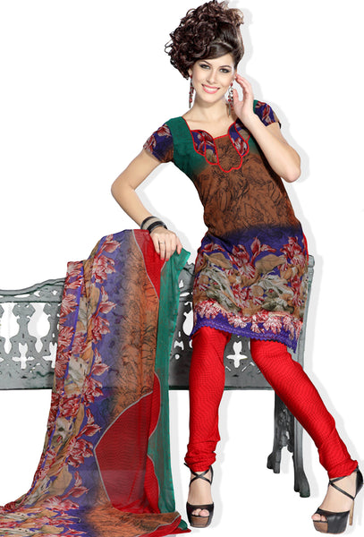 Stunning Print Brown Unstitched Salwar Kameez By atisundar - 3191 - atisundar - 2 - click to zoom