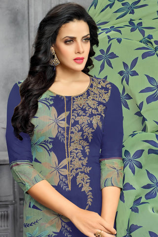 Designer Straight Cut:atisundar wonderful Blue Designer Party Wear Straight Cut - 13809