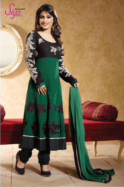 Resplendent Embroidered Anarkali Green Unstitched Salwar Kameez By Siya - 4139 - atisundar - 2 - click to zoom