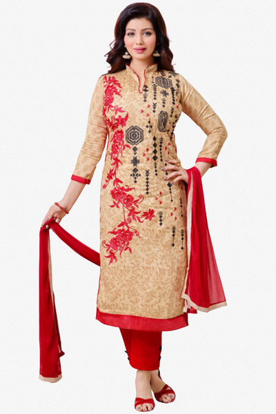 The Ayesha Takia Collection:atisundar Lovely Beige And Red Designer Straight Cut Suits With Embroidery On Printed Cotton Satin Featuring Ayesha Takia - 10453 - click to zoom