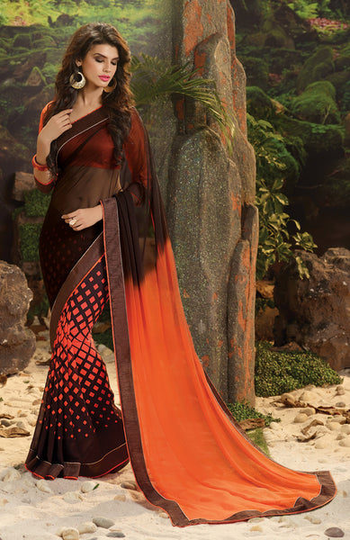 Designer Printed Saree!:atisundar gorgeous Designer Printed Saree in Orange  - 7980 - atisundar - 3 - click to zoom