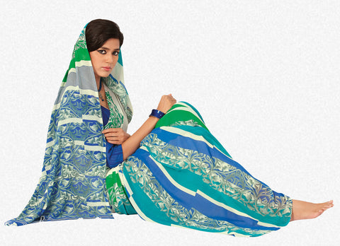 Beauteous Faux Georgette Saree In Blue - 3260 - atisundar - 2 - click to zoom